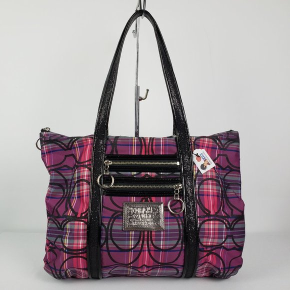 Coach Poppy Pink & Purple Plaid Purse